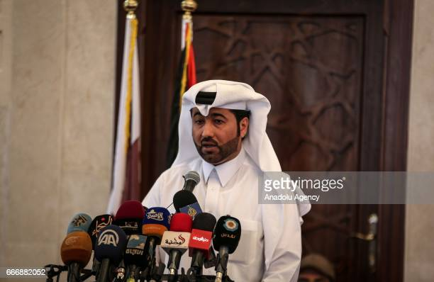 Khalid al-Hardan Deputy Head of the reconstruction committee in Gaza speaks during the opening ceremony of Sheikh Hamad bin Khalifa Al Sani Mosque...