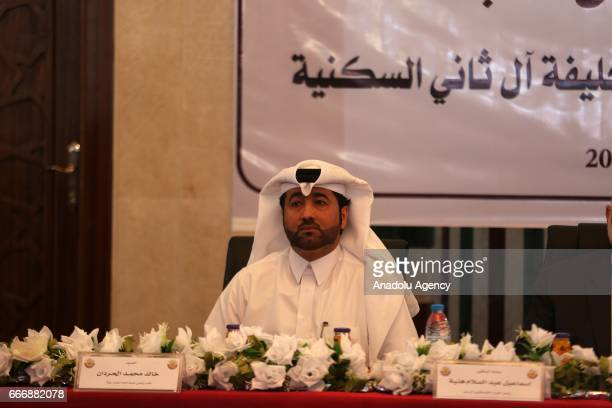 Khalid al-Hardan Deputy Head of the reconstruction committee in Gaza is seen during the opening ceremony of Sheikh Hamad bin Khalifa Al Sani Mosque...