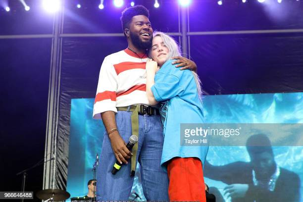 Khalid and Billie Eilish perform onstage during Day 3 of the 2018 Governors Ball Music Festival at Randall's Island on June 3 2018 in New York City
