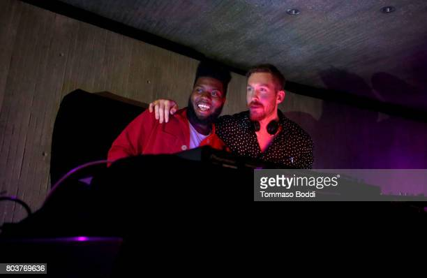 Khalid and Calvin Harris attend Calvin Harris' album launch party at a private residence on June 29 2017 in Los Angeles California