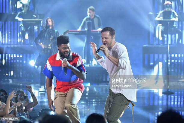 Khalid and Dan Reynolds of music group Imagine Dragons perform onstage during the 2017 American Music Awards at Microsoft Theater on November 19 2017...