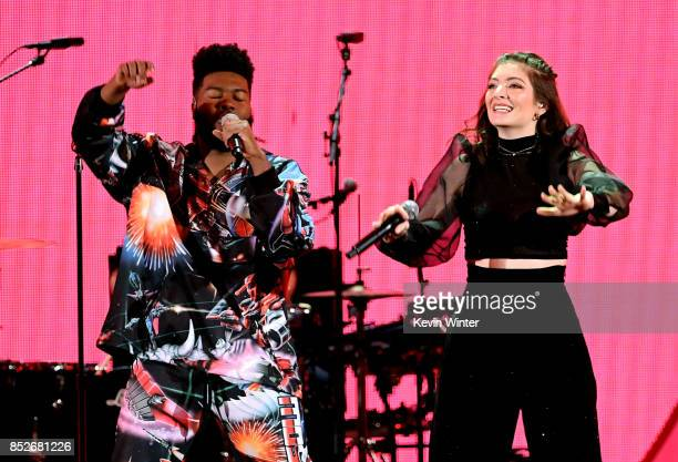 Khalid and Lorde perform onstage during the 2017 iHeartRadio Music Festival at TMobile Arena on September 23 2017 in Las Vegas Nevada