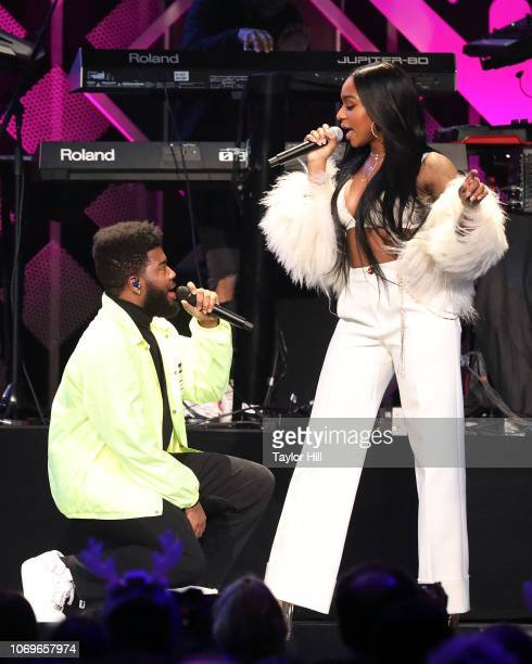 Khalid and Normani perform during the 2018 Z100 Jingle Ball at Madison Square Garden on December 7 2018 in New York City