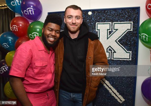 Khalid and Sam Smith attend Citi's 'American Teen' Event at Soho House on January 26, 2018 in New York City.