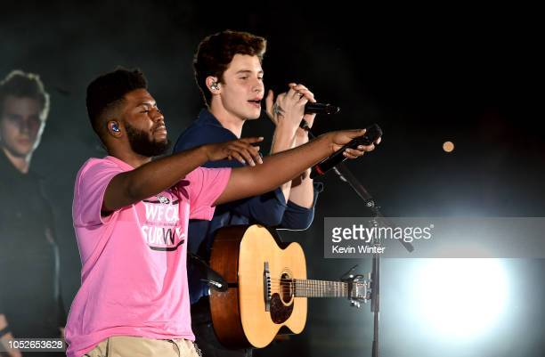 Khalid and Shawn Mendes performs onstage during We Can Survive A Radiocom Event at The Hollywood Bowl on October 20 2018 in Los Angeles California