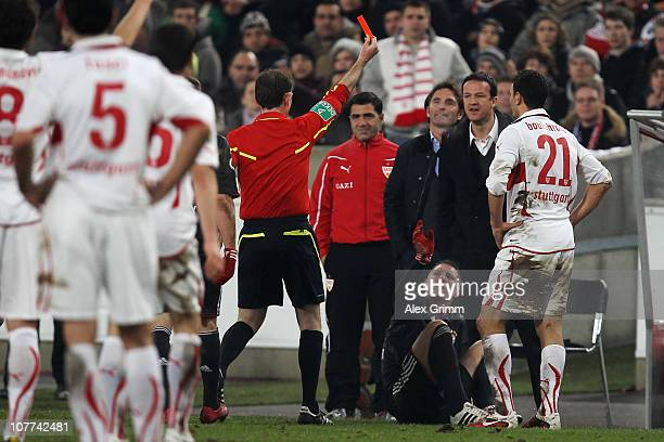 Khalid Boulahrouz of Stuttgart is sent off by referee Florian Meyer during the DFB Cup round of sixteen match between VfB Stuttgart and FC Bayern...