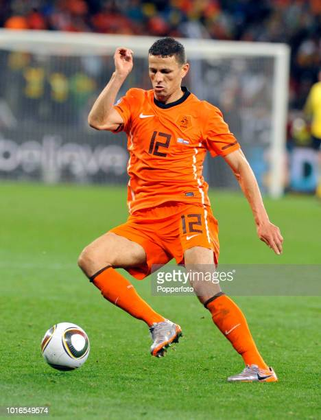 Khalid Boulahrouz of the Netherlands in action during the 2010 FIFA World Cup Semi Final match between Uruguay and the Netherlands at Green Point...