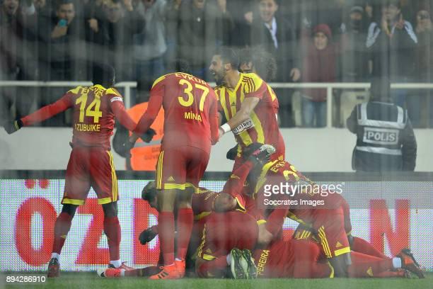 Khalid Boutaib of Malatyaspor celebrates 20 with Okechukwu Azubuike of Malatyaspor Arturo Mina Meza of Malatyaspor Aly Cissokho of Malatyaspor during...