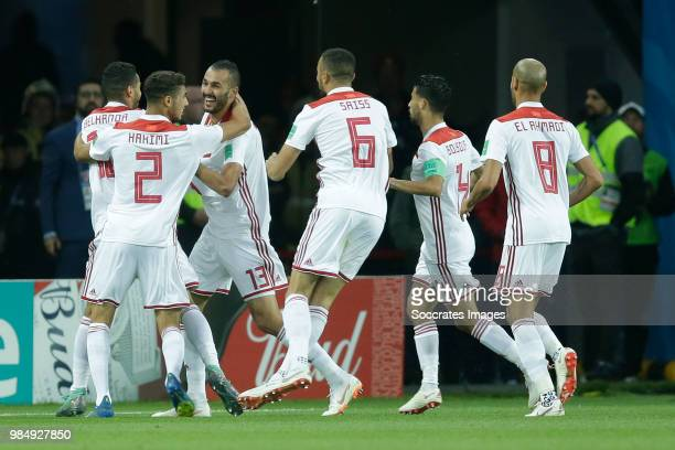Khalid Boutaib of Morocco celebrates 10 with Younes Belhanda of Morocco Achraf Hakimi of Morocco Romain Saiss of Morocco Mbark Boussoufa of Morocco...