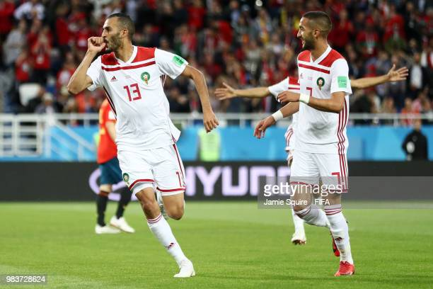 Khalid Boutaib of Morocco celebrates after scoring his team's first goal during the 2018 FIFA World Cup Russia group B match between Spain and...
