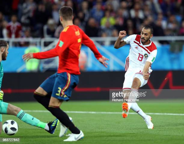 Khalid Boutaib of Morocco scores his team's first goal during the 2018 FIFA World Cup Russia group B match between Spain and Morocco at Kaliningrad...