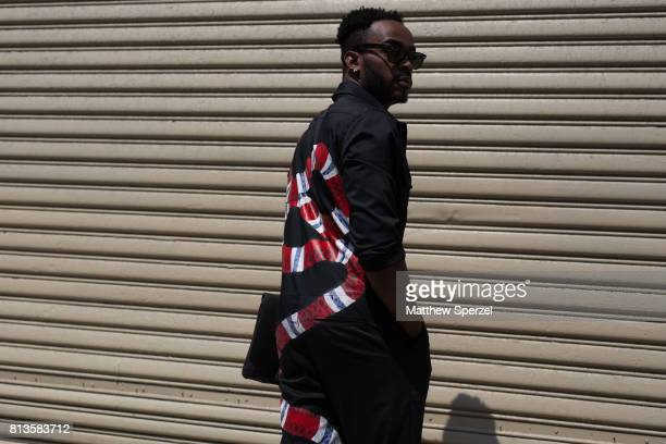 Khalid Briggs is seen attending You As at Skylight Clarkson during Men's New York Fashion Week wearing a custom suit by Princess S on July 12 2017 in...