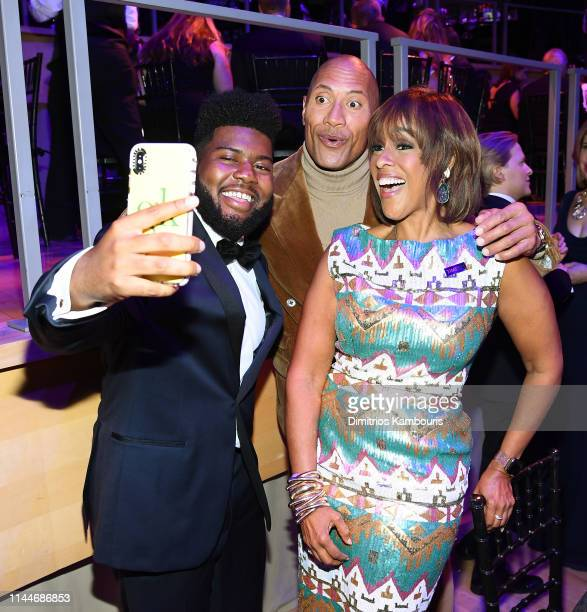 Khalid Dwayne Johnson and Gayle King attend the TIME 100 Gala 2019 Dinner at Jazz at Lincoln Center on April 23 2019 in New York City