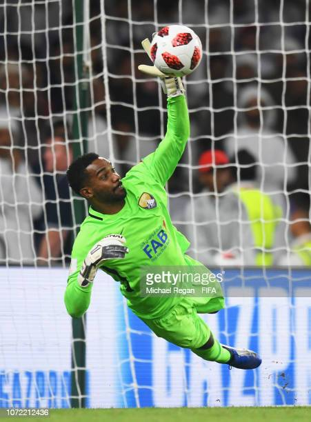 Khalid Eisa of Al Ain makes a save from Angus Kilkolly of Team Wellington in the penalty shoot out during the FIFA Club World Cup first round...