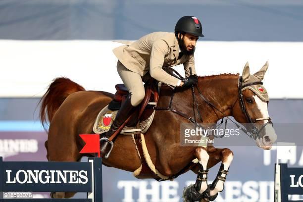 Khalid Hilal Al Khatri of Bahrain rides Sierra during The President of the UAE Show Jumping Cup at Al Forsan on February 14 2018 in Abu Dhabi United...