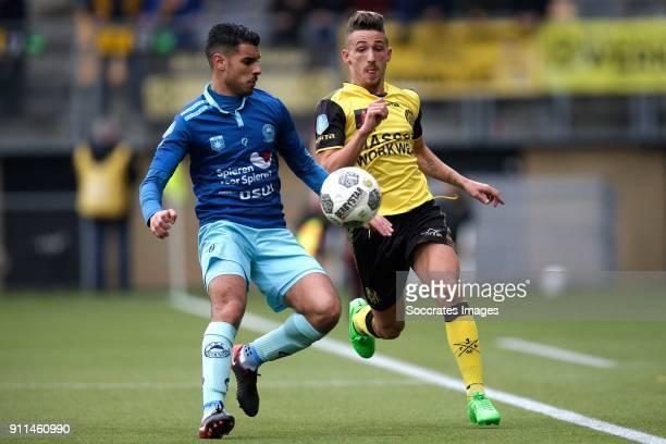 Khalid Karami of Excelsior Donis Avdijaj of Roda JC during the Dutch Eredivisie match between Roda JC v Excelsior at the Parkstad Limburg Stadium on...
