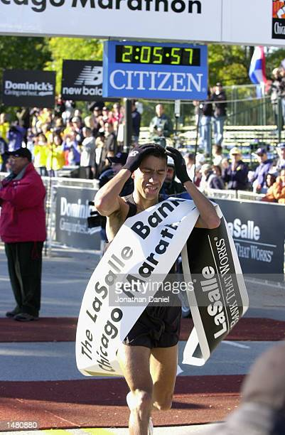 Khalid Khannouchi of New York wins the Chicago Marathon with a time of 20556 18 seconds off the Wolrd Record on October 13 2002 in Chicago Illinoi