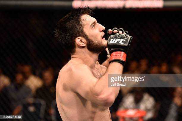 Khalid Murtazaliev of Russia celebrates his TKO victory over CB Dollaway in their middleweight bout during the UFC Fight Night event at Olimpiysky...