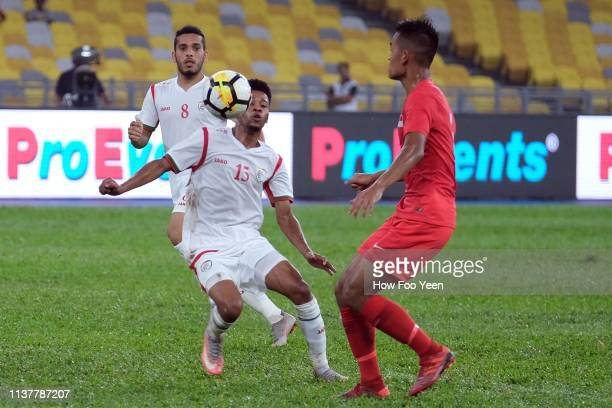 Khalid Nasser Fadhil in action during the Airmarine Cup final between Singapore and Oman at Bukit Jalil National Stadium on March 23 2019 in Kuala...
