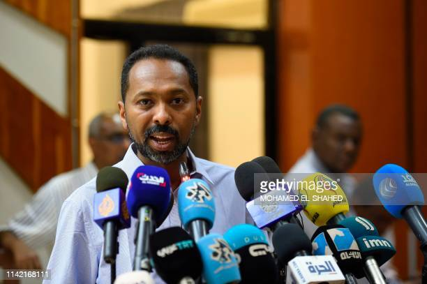 Khalid Omar Yousef a Sudanese protest leader speaks to the press in the capital Khartoum on May 8 2019 Sudanese protest leaders threatened to launch...
