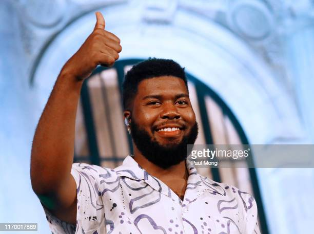 """Khalid performs at Apple Music's """"Up Next Live"""" with Khalid at the Apple Carnegie Library on August 24, 2019 in Washington, DC."""