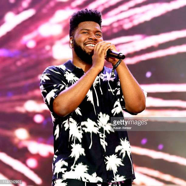 Khalid performs on Coachella Stage during the 2019 Coachella Valley Music And Arts Festival on April 14 2019 in Indio California