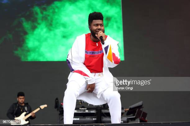 Khalid performs on day 3 of the Governors Ball music festival at Randall's Island Park on June 3 2018 in New York