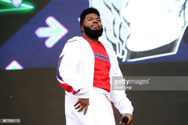 Khalid performs on day 3 of the Governors Ball music festival at Randall's Island Park on June 3, 2018 in New York