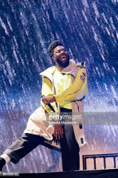Khalid performs onstage during day 3 of 2018 Boston Calling Music Festival at Harvard Athletic Complex on May 27 2018 in Boston Massachusetts
