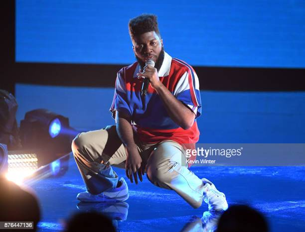 Khalid performs onstage during the 2017 American Music Awards at Microsoft Theater on November 19 2017 in Los Angeles California