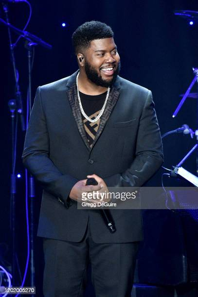 """Khalid performs onstage during the Pre-GRAMMY Gala and GRAMMY Salute to Industry Icons Honoring Sean """"Diddy"""" Combs on January 25, 2020 in Beverly..."""