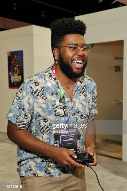 Khalid visits the Nintendo booth at the 2019 E3 Gaming Convention at Los Angeles Convention Center on June 12 2019 in Los Angeles California