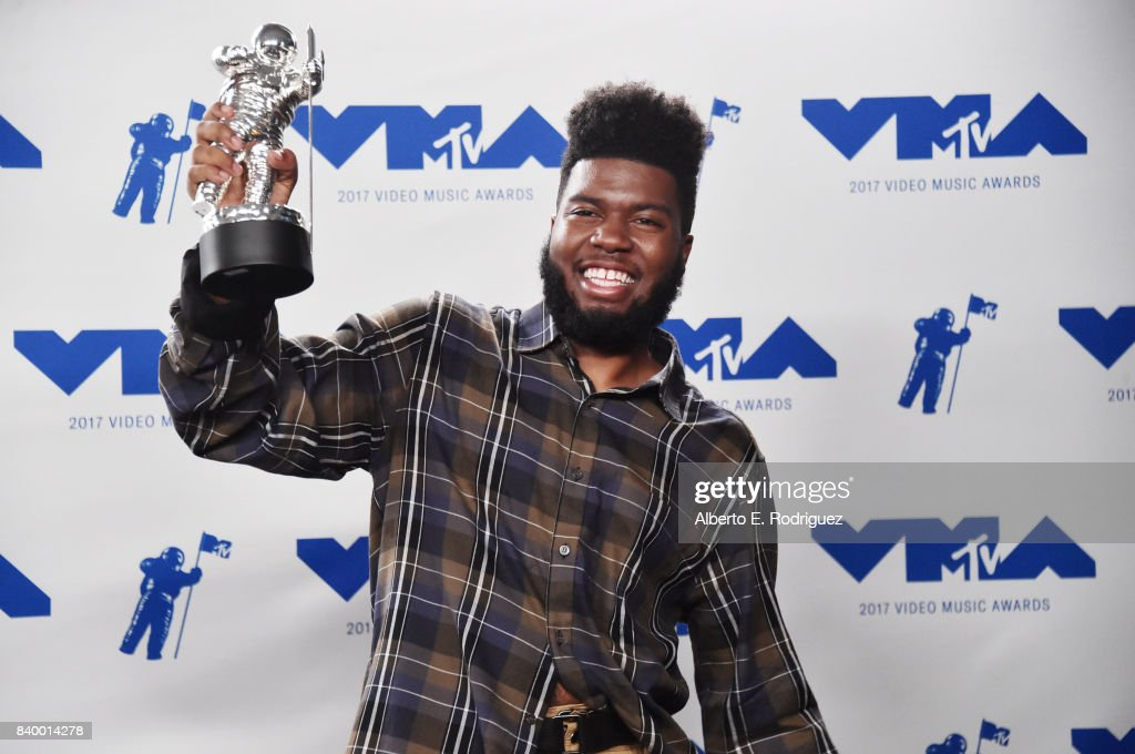 Khalid, winner of Best New Artist, poses in the press room during the 2017 MTV Video Music Awards at The Forum on August 27, 2017 in Inglewood, California.