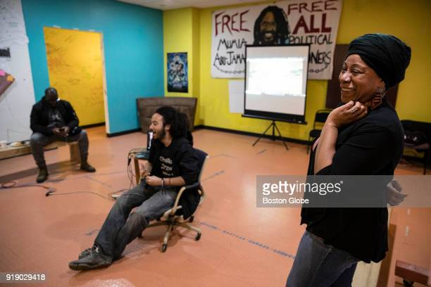 Khalida Smalls leads a discussion of the significance of the upcoming release of the live action 'Black Panther' film at the city school in Boston on...