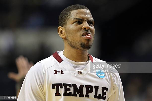 Khalif Wyatt of the Temple Owls reacts after a play against the South Florida Bulls during the second round of the 2012 NCAA Men's Basketball...