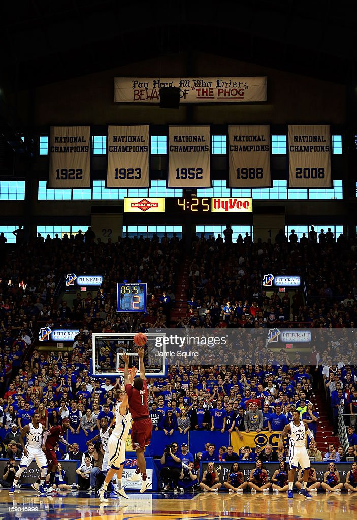 Khalif Wyatt #1 of the Temple Owls shoots during the game against the Kansas Jayhawks at Allen Fieldhouse on January 6, 2013 in Lawrence, Kansas.