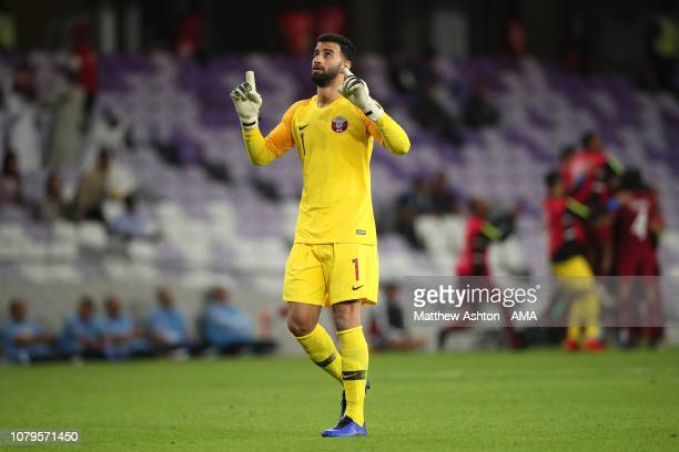 Khalifa Ababacar of Qatar celebrates the goal of Pedro Miguel of Qatar which made it 10 during the AFC Asian Cup Group E match between Qatar and...