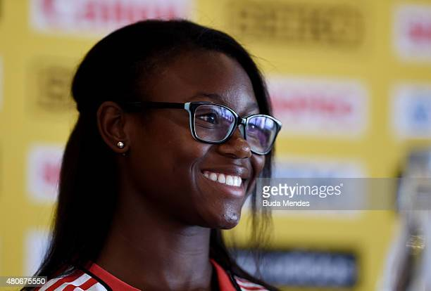 Khalifa St Fort of Trinidad and Tobago attends a press conference prior to the start of the IAAF World Youth Championships Cali 2015 on July 14 2015...