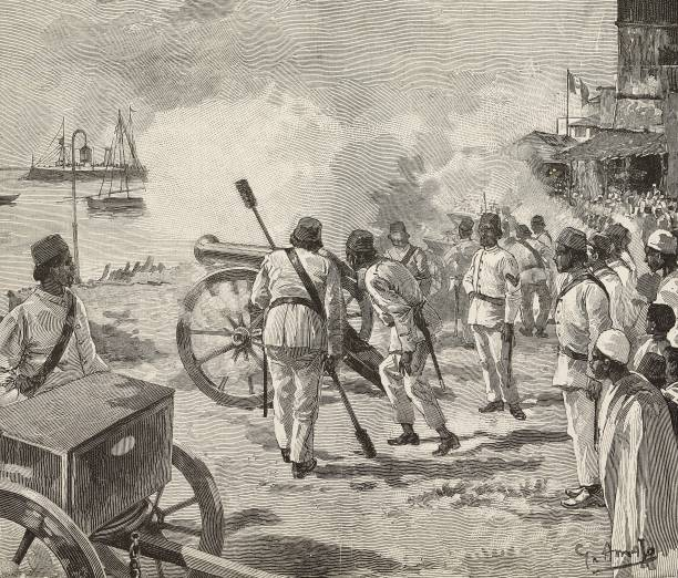 Khalifah bin Said Sultan of Zanzibar during the firing of the gun salute in honor of the Italian flag Zanzibar engraving from a drawing by G Amato...