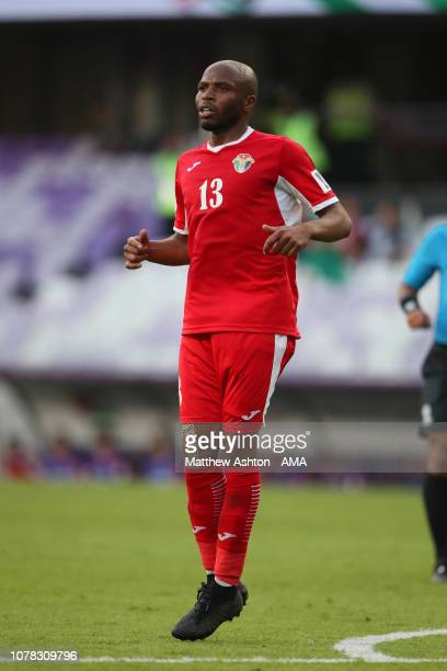 Khalil Baniateyah of Jordan in action during the AFC Asian Cup Group B match between Australia and Jordan at Hazza Bin Zayed Stadium on January 6...