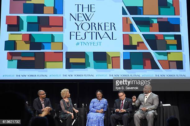 Khalil Gibran Muhammad Margo Jefferson Alicia Garza and Congressman Keith Ellison speak during 'A More Perfect Union Obama and The Racial Divide'...