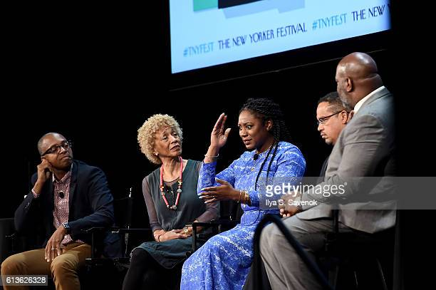 Khalil Gibran Muhammad Margo Jefferson Alicia Garza and Congressman Keith Ellison speak on stage during 'A More Perfect Union Obama and The Racial...