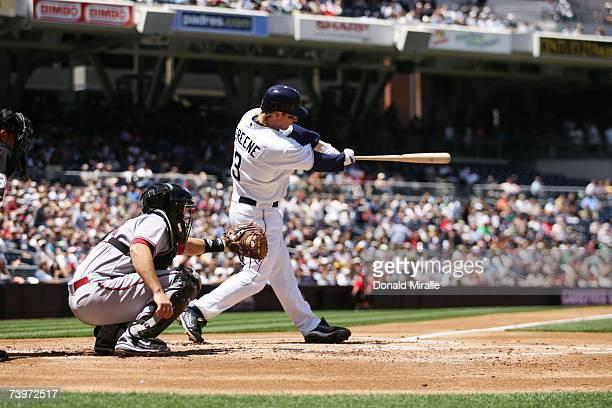 Khalil Greene of the San Diego Padres bats against the Arizona Diamondbacks on April 19 2007 at Petco Park in San Diego California The Padres won 116