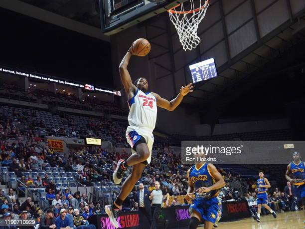 Khalil Iverson of the Grand Rapids Drive jams on the Fort Wayne Mad Ants on December 28 2019 at Memorial Coliseum in Fort Wayne Indiana NOTE TO USER...