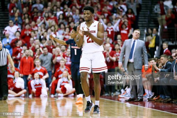 Khalil Iverson of the Wisconsin Badgers reacts in the second half against the Illinois Fighting Illini at the Kohl Center on February 18 2019 in...