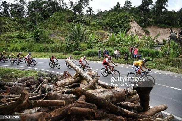 Khalil Khorsid of Tabriz Shahrdary Team Iran leads the peloton during stage 9 of the Tour de Singkarak 2017 PasamanBukittinggi 1172 km on November 26...