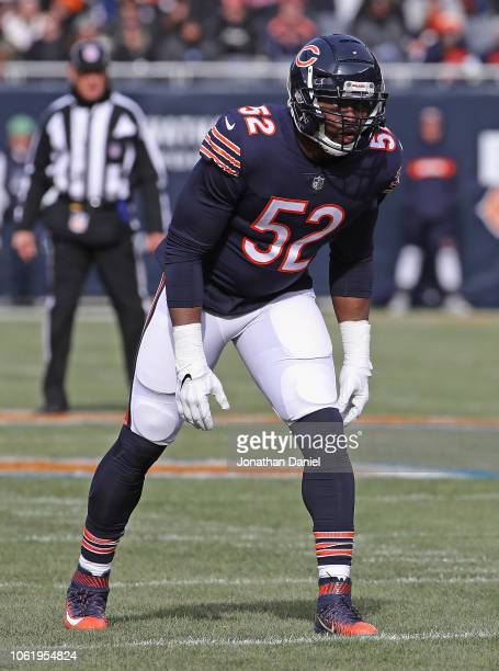 Khalil Mack of the Chicago Bears awaits the snap against the detroit Lions at Soldier Field on November 11 2018 in Chicago Illinois The Bears...