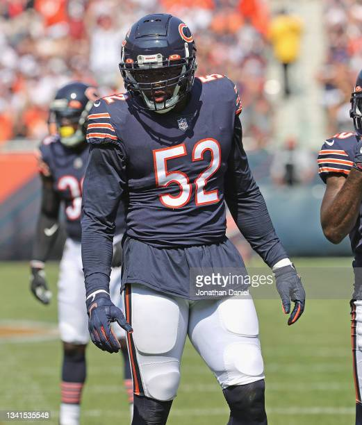 Khalil Mack of the Chicago Bears awaits the start of lay against the Cincinnati Bengals at Soldier Field on September 19, 2021 in Chicago, Illinois....