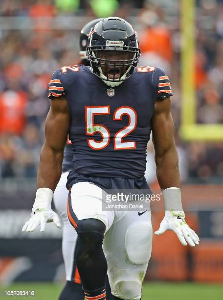 Khalil Mack of the Chicago Bears celebrates a strip sack against the Tampa Bay Buccaneers at Soldier Field on September 30 2018 in Chicago Illinois...