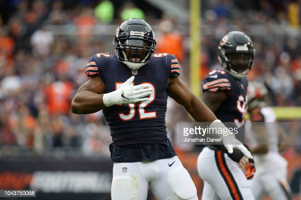 Khalil Mack of the Chicago Bears celebrates after stripping the football in the second quarter against the Tampa Bay Buccaneers at Soldier Field on...